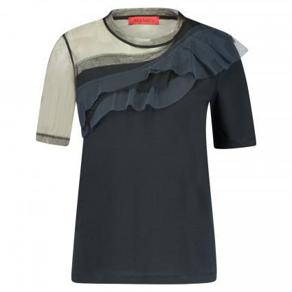 T-Shirt 'Dami' mit Tüll-Ärmel und Rüschen  schwarz (001) | XL