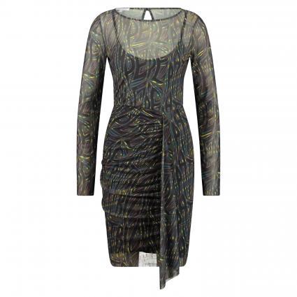 Kleid mit Raffdetails schwarz (FBF6 WINTER SAFARI) | L
