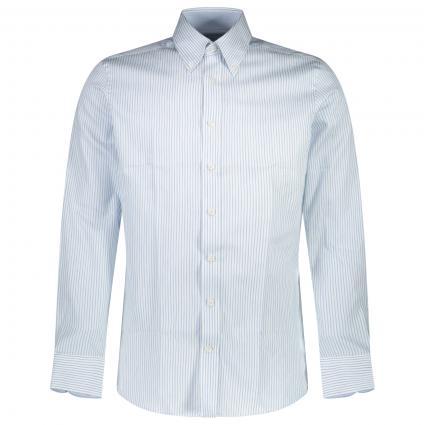 Slim-Fit Button-Down Hemd mit All-Over Streifenmuster   weiss (8AMWHITE/S)   XXL