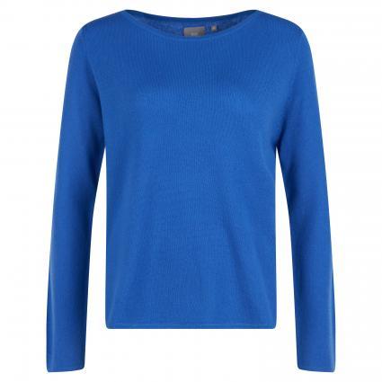 Cashmere-Pullover mit abgerundetem Saum blau (royal) | L