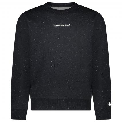 Sweatshirt mit All-Over Muster und Label-Stickerei  schwarz (BD1 black heather) | L