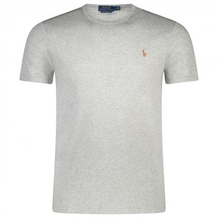 T-Shirt in melierter Optik mit Label-Stickerei divers (012 ANDOVER HEATHER) | XL