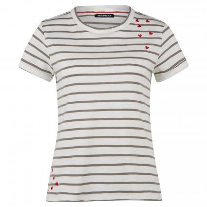 T-Shirt mit Streifen  oliv (9101 khaki stripes) | 38