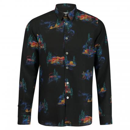 Slim-Fit Hemd mit All-Over Muster schwarz (79 black) | S