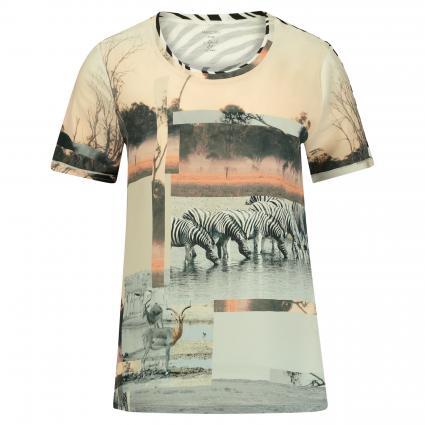 T-Shirt aus Material-Mix beige (624 clay)   40