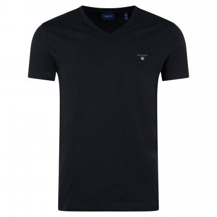 Basic Shirt mit V-Ausschnitt schwarz (005 Black)   XXL