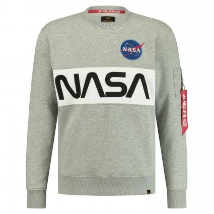 Sweatshirt 'Nasa' mit Frontprint grau (17 grey heather) | S
