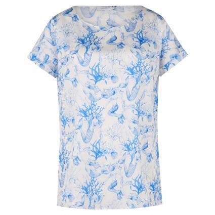 Blusenshirt 'Taya' mit Print weiss (750 weiß blau AOP)   38