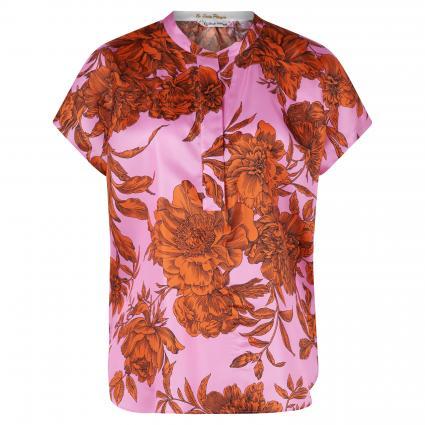 Oversize-Blusenshirt aus Seide pink (FI1 pink orange Blum) | 40