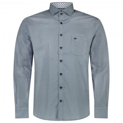 Hemd aus reiner Baumwolle mit All-Over Muster  marine (8020 Navy) | XXL