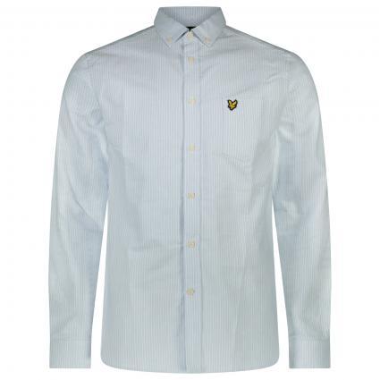 Hemd mit Button-Down Kragen und All-Over Streifenmuster  blau (Z800 pool blue) | M