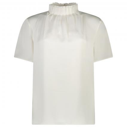 T-Shirt mit Stehkragen und Falten-Details  weiss (WHITE) | 36
