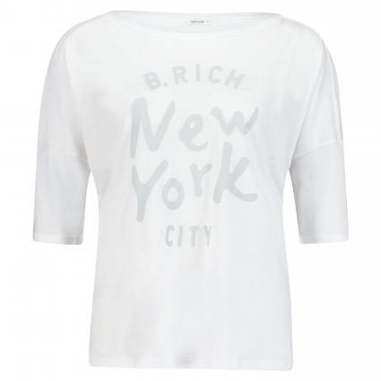 Rundhals T-Shirt mit Logodruck weiss (2000 weiß) | S