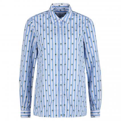 Hemdbluse mit Stickerei blau (889/030 Palme) | 40