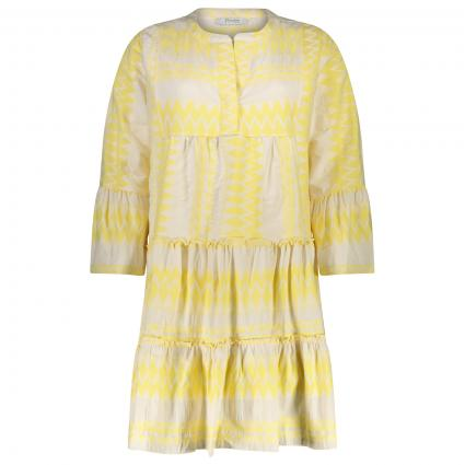 Tunikakleid mit All-Over Muster gelb (50 GELB) | 38