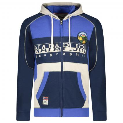 Sweatshirtjacke mit Applikationen und Logo-Druck blau (BB6 Medieval Blue) | M