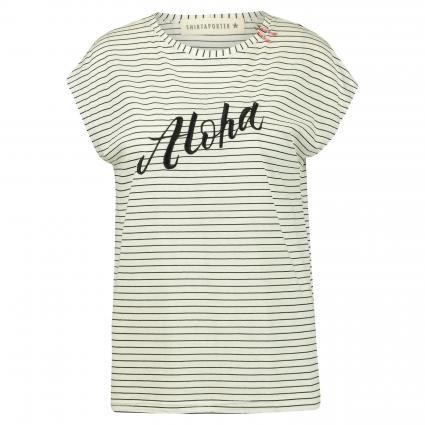 T-Shirt mit Streifenmuster weiss (bianco nero) | 38