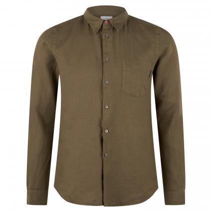 Slim-Fit Hemd aus Leinen oliv (34 olive) | L