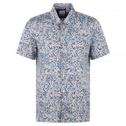 Kurzärmeliges Hemd mit Bowling-Kragen blau (73 blue minimal) | L