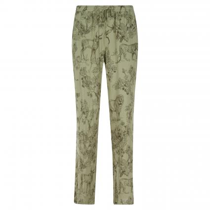 Weite Hose mit All-Over Muster oliv (486 khaki) | XS