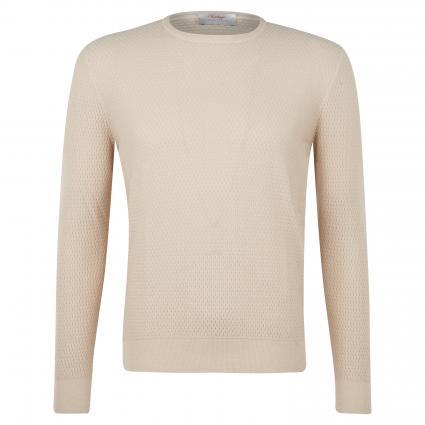 Schurwoll-Pullover mit Strukturmuster beige (204 Beige) | 56