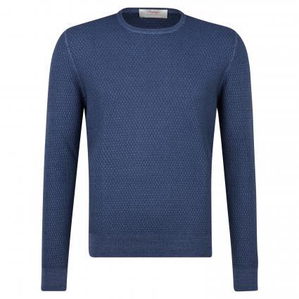 Schurwoll-Pullover mit Strukturmuster blau (706 Denim)   58
