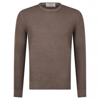Schurwoll-Pullover mit Strukturmuster braun (410 Brown) | 56