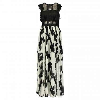 Langes Kleid mit Bandeau-Einsatz schwarz (black-cream) | 38