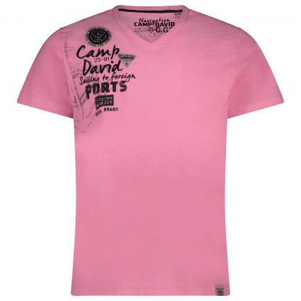 T-Shirt mit V-Neck und Rücken-Artwork pink (Neon Pink) | XL