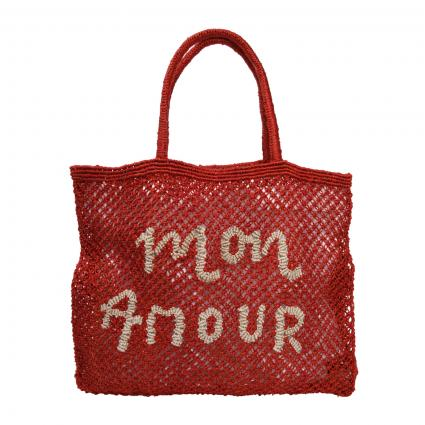 Tasche 'Mon Amour Large' aus Jute rot (RED 1 BODY NAT 13) | 0