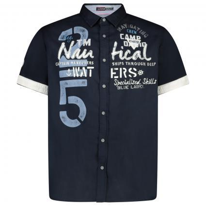 Kurzarm Hemd mit Label-Druck  marine (Blue Navy) | XL