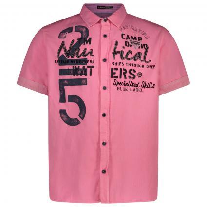 Kurzarm Hemd mit Label-Druck  pink (Neon Pink) | XL