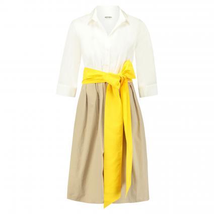 Hemdblusenkleid mit Kontrastband beige (A808 weiß+sand+gelb) | 40