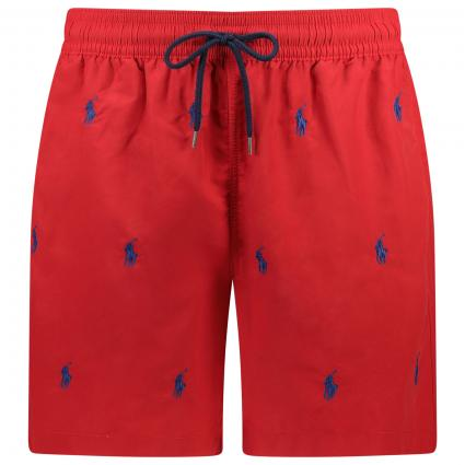 Badehose mit All-Over Label-Stickerei  rot (001 RED W/NAVY) | S