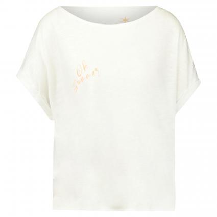 T-Shirt mit Print weiss (100 white+lila) | XXL