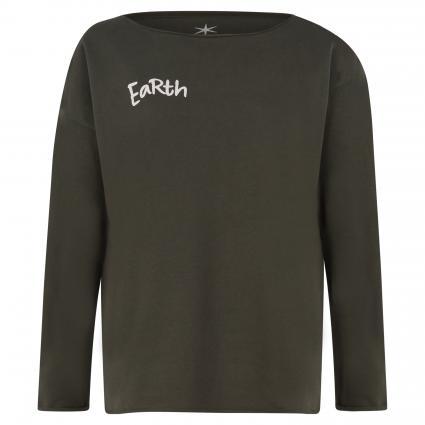 Sweatshirt mit Wording oliv (461 dark oliv/rosa) | S