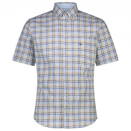 Kurzarmhemd mit All-Over Karomuster  beige (5090 Beige) | S