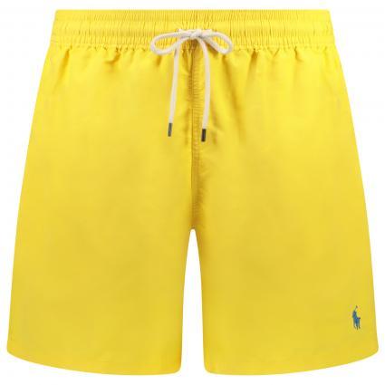 Badehose mit Label-Stickerei  gelb (016 SUNFISH YELLOW) | XL