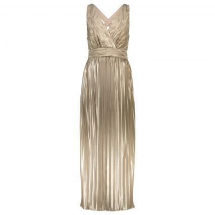 Abendkleid in Plissee Optik   gold (40612) | L