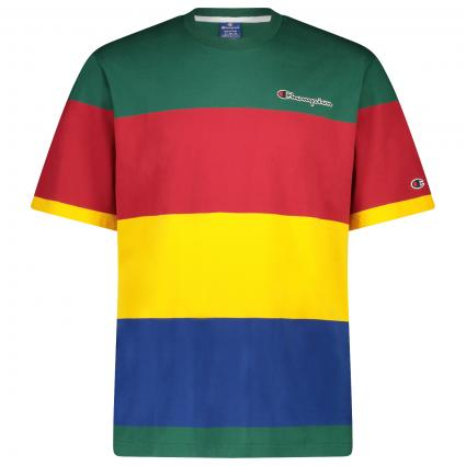 T-Shirt mit Coulor-Blocking  grün (GS524 multi stripe) | XL
