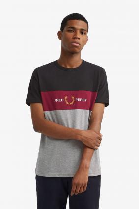 T-Shirt mit Streifenmuster grau (420 steel marl) | L