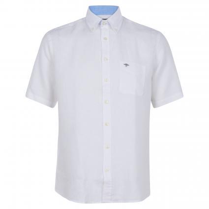 Kurzärmeliges Hemd aus Leinenfaser weiss (7000 White) | XL