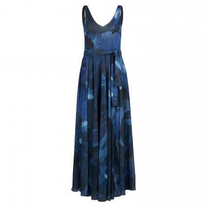 Maxikleid 'Primula' mit Musterug blau (001) | M