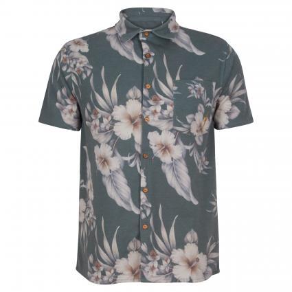 Hemd mit Blumenmuster anthrazit (G55 darkest spruce) | M