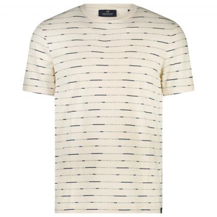 T-Shirt mit All-Over Label Muster  ecru (0218 Combo B) | M