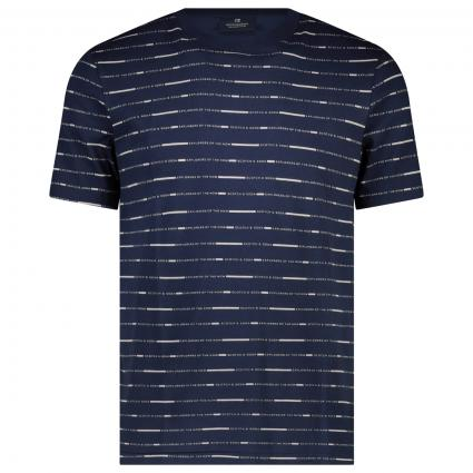 T-Shirt mit All-Over Label Muster  marine (0220 Combo D) | XL