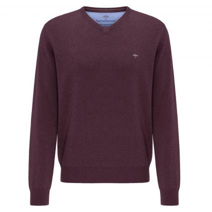 Pullover mit V-Ausschnitt bordeaux (550 Amarena) | XXL