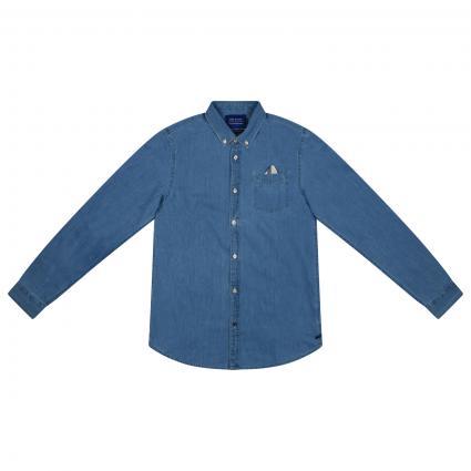 Jeans Hemd aus reiner Baumwolle  blau (0134) | 164