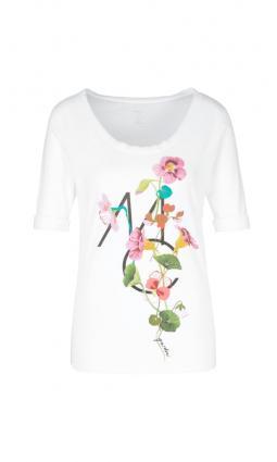 T-Shirt mit Blumen weiss (100 white) | 40