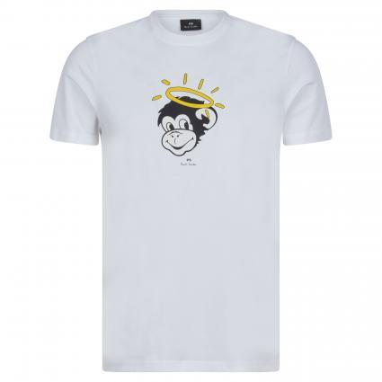 T-Shirt mit Rundhalsausschnitt weiss (01 white monkey) | S
